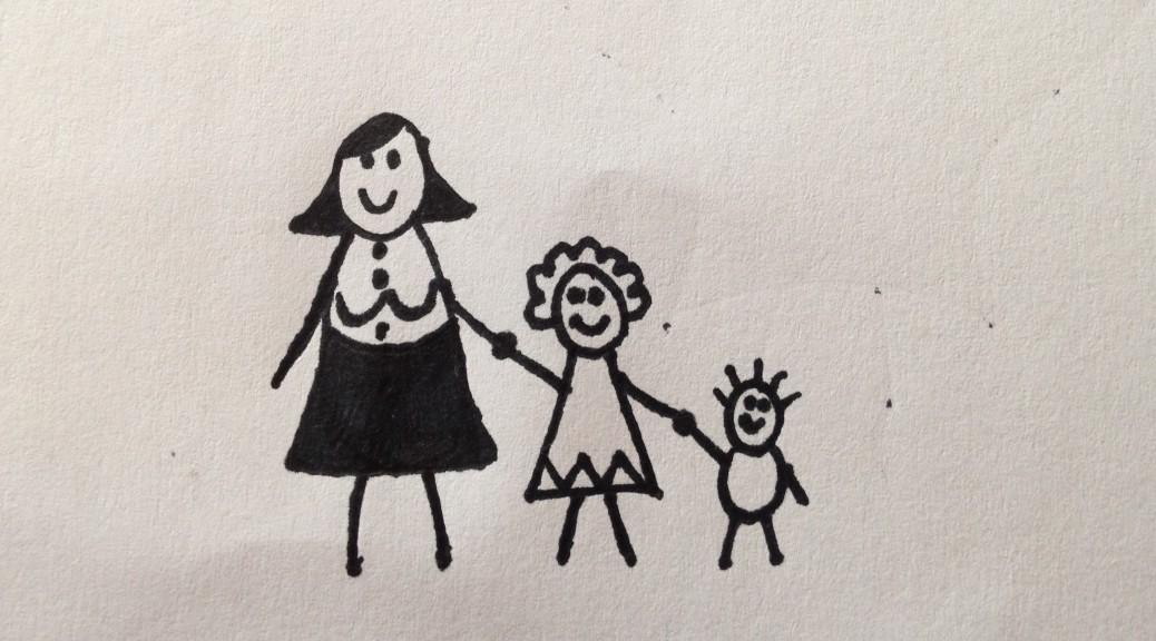 alene med mor
